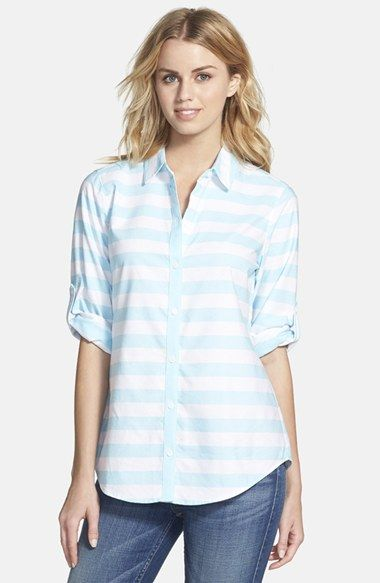 Foxcroft Stripe Oxford Cotton Shirt (Regular & Petite) available at #Nordstrom