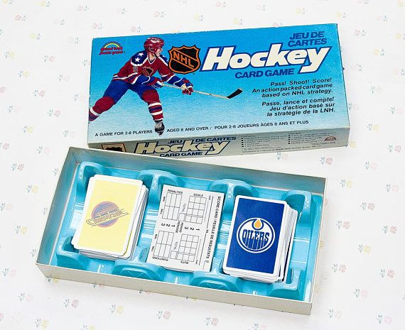 Vintage 80s Hockey Card Game, Hockey Gifts for Men, Vancouver Canucks, Edmonton Oilers, Vintage Card Game for Hockey Lover, Boyfriend Gift