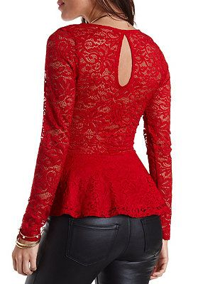Long Sleeve Lace Peplum Top: Charlotte Russe