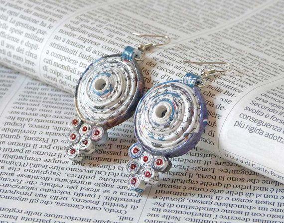 Newspaper Earrings Paper Earrigs Eco-Friendly Design Nickel Free Hooks