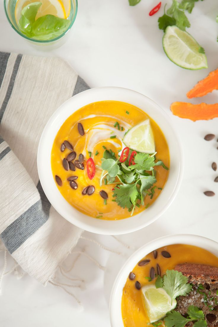 A luscious anti-inflammatory Thai Pumpkin Soup with turmeric, ginger, lemongrass, chilli, spices, coconut milk,