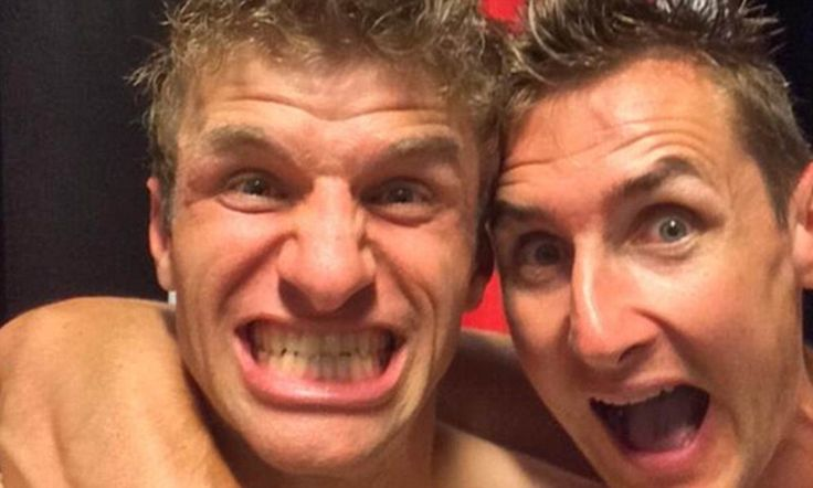 Thomas Müller and Miro Klose being their usual silly self.