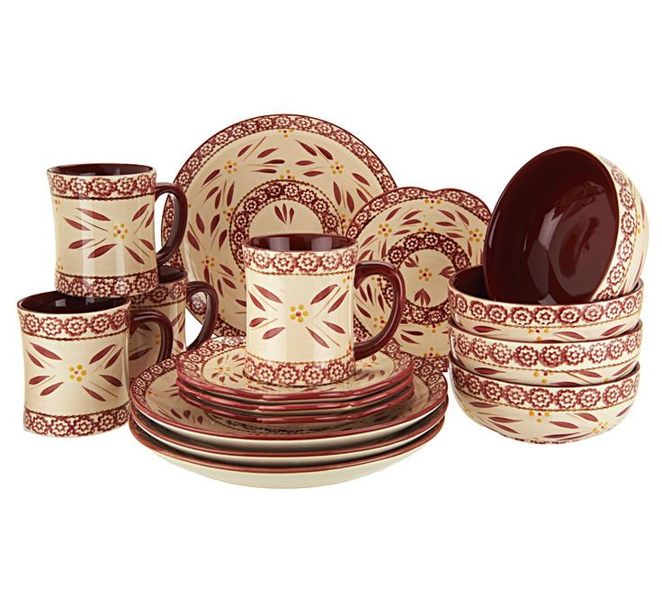 Temp Tations Hand Painted 16 Pc Service For 4 Dinnerware