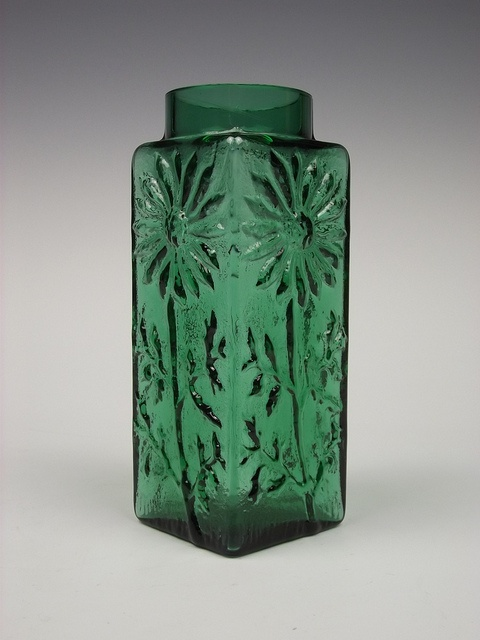 Dartington 'Marguerite' green glass vase. Designed by Frank Thrower by art-of-glass, via Flickr