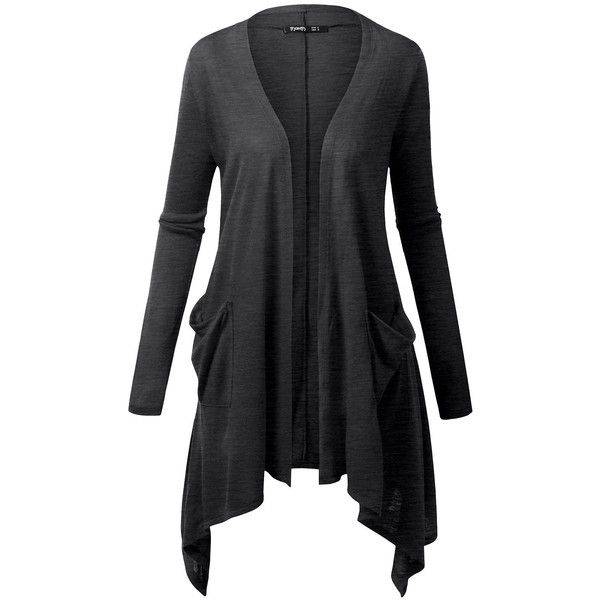 TWINTH Plus Size Open Front Knit Cardigan Long Sleeve ($9.99) ❤ liked on Polyvore featuring tops, cardigans, long sleeve cardigan, long sleeve knit tops, knit top, womens plus size knit tops and plus size cardigans