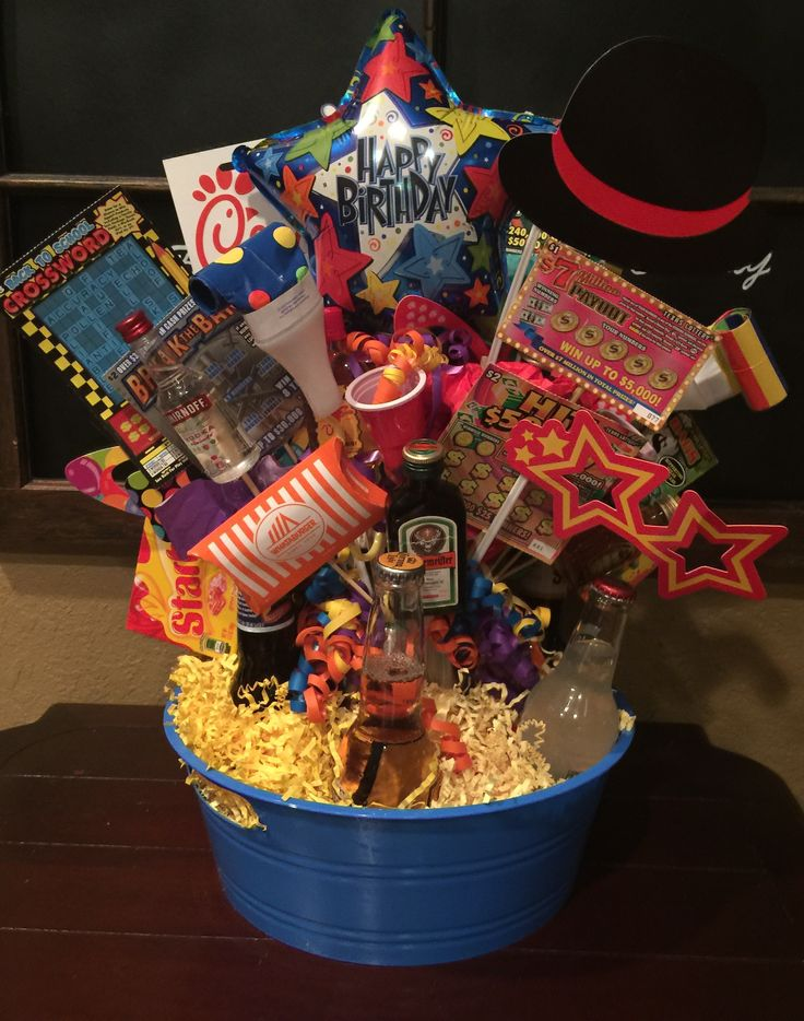 21st birthday gift basket for my son Lotto tickets, mini