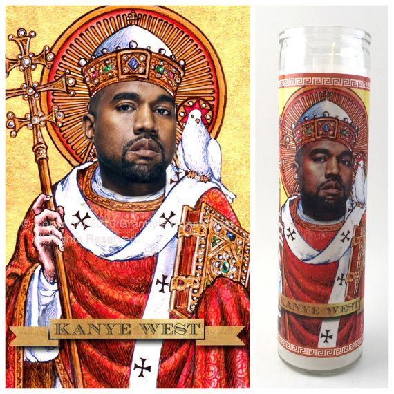 "'Saint' Kanye West depicted on a custom made 9"" Prayer candle.  The perfect gift for Yeezy fans.  All of our candles are handmade in Wichita, KS"
