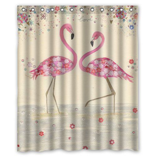 Graceful flamingo custom shower curtain 60 x 72 bathroom for 60 s bathroom ideas