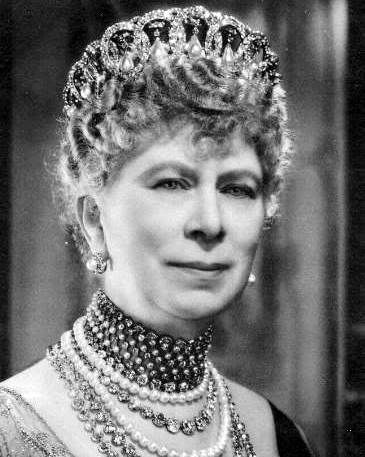 Queen Mary of the United Kingdom wearing the Vladimir Tiara - When the Grand Duchess Vladimir died in 1920, the Tiara passed to her daughter, Princess Nicholas of Greece who sold the jewels to benefit both her family & Russian charities. She sold this piece in 1921 to Queen Mary. In Part 2 of De Kongelige Juveler, one can see a written record of the purchase; the tiara was sold to Mary along with a diamond riviere for a price of £28,000 with all but £3,000 paid at the time of writing.