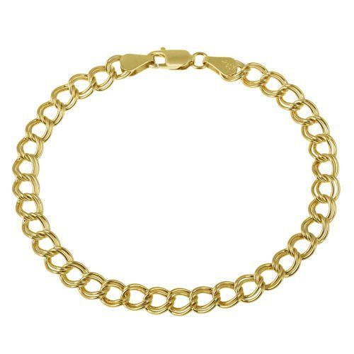 """18k Yellow Gold Plated Sterling Silver Double-Link Chain Bracelet, 8"""" Amazon Curated Collection. $33.00. Save 79% Off!"""