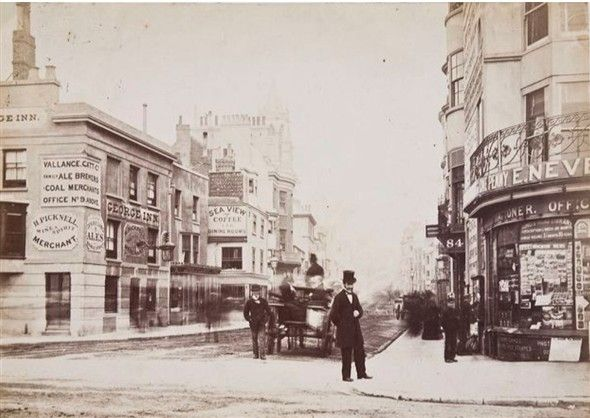 Photo:Old West Street, about 1878, showing the original George Inn which was built in the early years of the century. It was demolished and rebuilt in 1892.