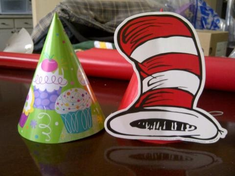 Cat In The Hat DIY Party Wrap Red Wrapping Paper Around Dollar Store