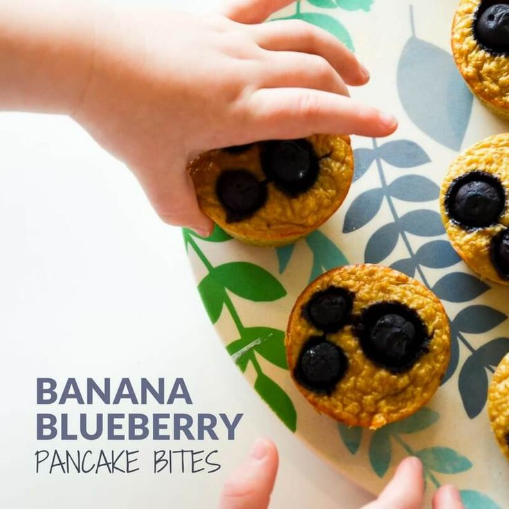 healthy blueberry banana pancake muffin bites. easy breakfast recipe or healthy lunch box suitable for baby led weaning