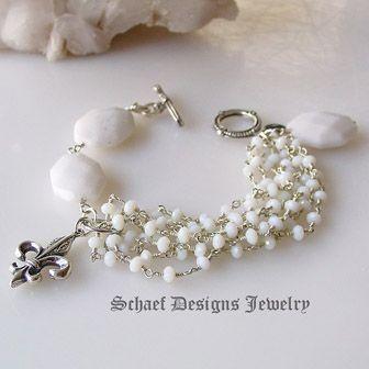 White opal quartz & Sterling Silver gemstone bracelet | Schaef Designs artisan handcrafted gemstone Jewelry