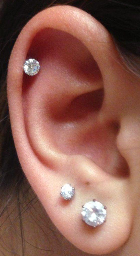 18368b139 Nur Swarovski Circle Crystal Ear Piercing Jewelry 16G Silver Earring in 2019  | ring | Piercings, Cute ear piercings, Ear piercings