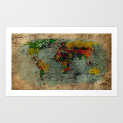 World map Art Print by Ace of Spades - $17.99
