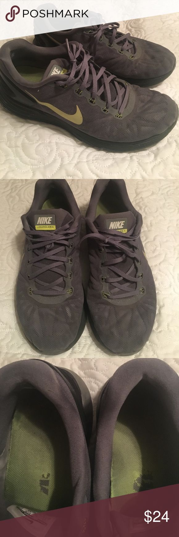 Grey Nike Lunarglide 6 Grey Nike Lunarglide 6 sneakers. Yellow or light lime green check mark. In overall good condition with no major noticeable flaws. Men's size 11 Nike Shoes Athletic Shoes