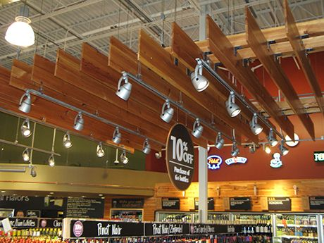 Whole Foods, Raleigh NC. Commercial ceiling of reclaimed antique heart  pine, in our - 8 Best Reclaimed Ceilings, Panels, Siding Images On Pinterest