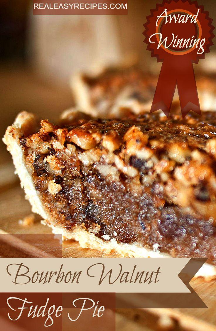 Award Winning Bourbon Walnut Fudge Pie - www.realeasyrecipes.com