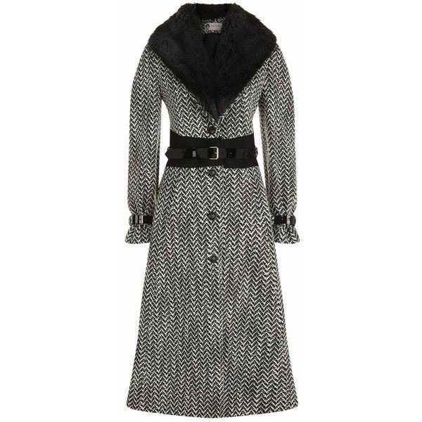 Lanvin Fur Collar Chevron Coat (24.160 RON) ❤ liked on Polyvore featuring outerwear, coats, lanvin, fur collar long coat, fur collar coat, longline coat and button coat