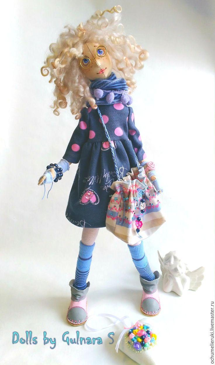 Купить Текстильная каркасная кукла. Авторская работа - розовый, серый, голубой, тильда, ручная работа