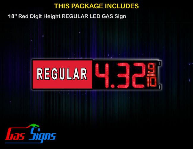 18 Inch REGULAR Gas Price LED Sign - Red LEDs with 3 Large Digits and fraction digits - Lighted Section to the left with housing dimension and format 8.88 9/10 comes with complete set of Control Box, Power Cable, Signal Cable & 2 RF Remote Controls (Free remote controls).