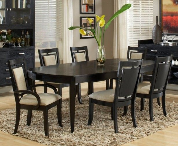 Exotic Black Dining Room Table Centerpiece Mixed With White Window Shutter Also Brown Fur Rug