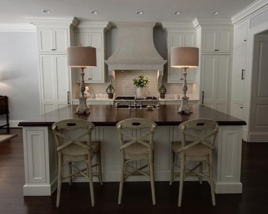 Wood Topped Island White Gray Kitchens Pinterest