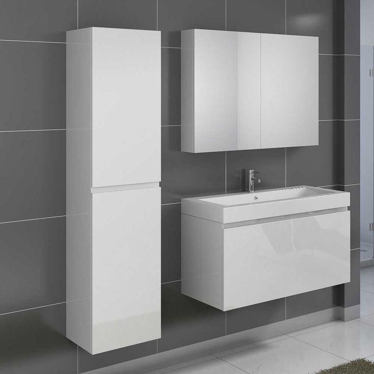 Luxury Badezimmer Set in Hochglanz Wei mit Spiegelschrank teilig Jetzt bestellen unter