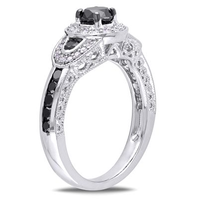 0.98 CT. T.W. Enhanced Black and White Diamond Vintage-Style Three Stone Ring in Sterling Silver  - Peoples Jewellers
