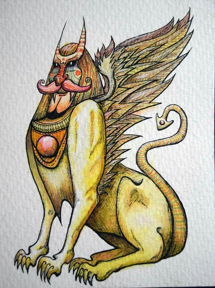 Esfinge Demonio en ecolines y rapidografos. Oscar_ilustra