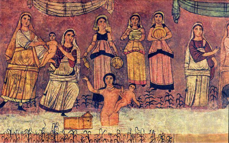 Moisés es rescatado de las aguas del Nilo. Dura Europos
