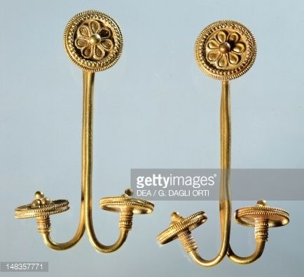 Fine art : Gold earrings from Kamiros, Rhodes (Greece), Goldsmith art, Greek Civilization, 8th-7th Century BC