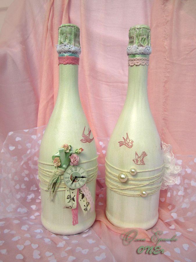 #Shebby. #wedding ideas. Оформление шампанского Асти Мартини на свадьбу в стиле #шебби Подробнее на livemaster.ru/oner