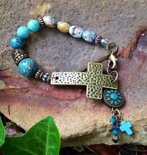 Brass Cross and natural gemstone bracelet! 8 inches long, and made with blue striped Onyx, agate, smokey quartz, oh my!!