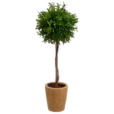 "20"" Tea Leaf Ball-Shaped Artificial Topiary Plant w/Terra Cotta Pot (pack of 4) - LQL719-GR"