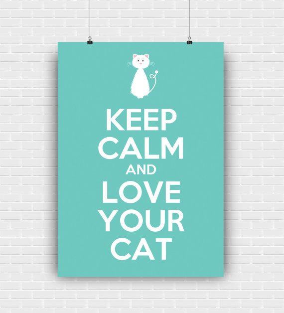Keep calm and love your cat printable art quote by GraphicCorner