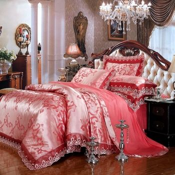 Brink Pink Silver and Burgundy Scroll Pattern Luxury Royal Style Sequin Jacquard Design Lace Edge Southwestern Full, Queen Size Bedding Sets
