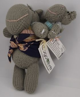 Gogo Hippo & Baby - Hand Knitted Animals from Zimbabwe. Each animal comes with a swing tag to tell you their name and the lovely lady they were knitted by. Gogo is the shona word for Grandmother, but she doesn't need to actually be related to you, anyone can be your Gogo!