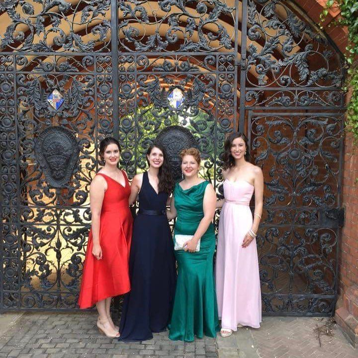 """At Cambridge you don't just get a world-class education, you get friends for life. Graduate student @michelle_prior shared this photo of herself with friends @samleggs22 @jessicabaxterjones @scandalous_in_bohemia to win the Newnham College memories competition. Michelle, who has just finished reading an MPhil in Archaeology and is on the far right, said: """"From Matriculation to May Ball, we will remain friends forever and Newnham forever."""" #cambridge #cambridgeuniversity #cambridgeuni…"""