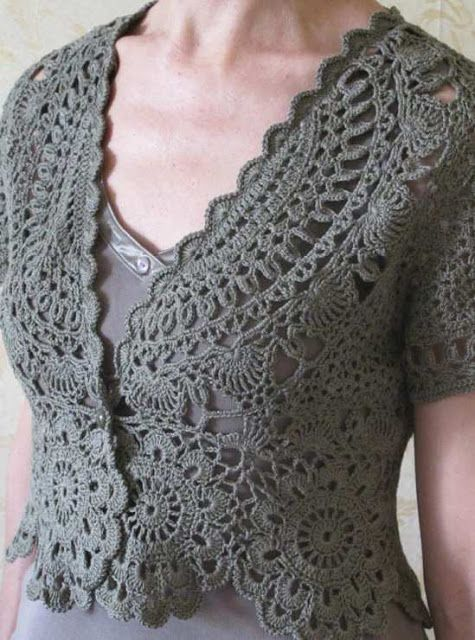 Black, grey or white bolero - The blog is in  English, the charts are helpful, but the details  are in what I take to be Russian.  Wish there were a photo of the back.