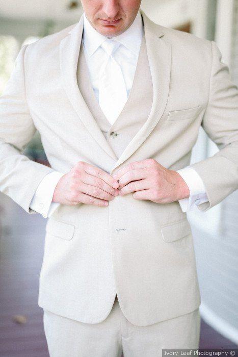 50886b3fd9ed Light sand color suit + 3 piece wedding suit - Groom + groomsmen attire  {Ivory Leaf Photography}