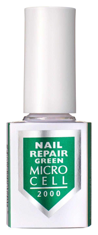 Micro Cell 2000 Nail Repair Green - Dieses formaldehydfreie Spezialprodukt wurde insbesondere für extrem trockene und besonders empfindliche Problemnägel entwickelt. Es stärkt und festigt weiche, brüchige Nägel, schützt vor Splittern, Abbrechen und Einreißen der Nagelspitzen, macht die Nägel widerstandsfähig und stoßsicher. Zusätzlich wird die Nagelplatte vor UV-Licht geschützt. Die einzigartige Wirkung basiert auf der Wiederherstellung von Eiweißmolekülen in der Hornschicht.