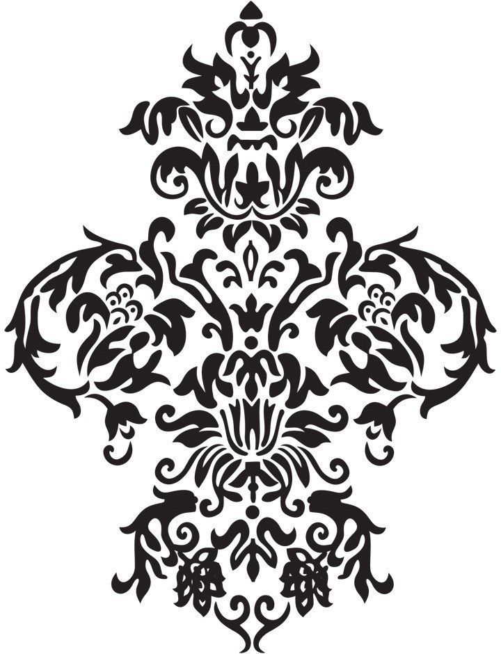 Large Damask Vinyl Wall Decal Art Baroque Sticker Home