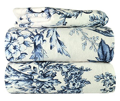 Piece 100% Soft Flannel Cotton Bed Sheet Set – Queen/King Size – Patterned Bedding Covers – 1 Flat Sheet, 1 Fitted Sheet, 2 Pillow Cases - Fade Resistant Designs, (Toile, king) #Piece #Soft #Flannel #Cotton #Sheet #Queen/King #Size #Patterned #Bedding #Covers #Flat #Sheet, #Fitted #Pillow #Cases #Fade #Resistant #Designs, #(Toile, #king)