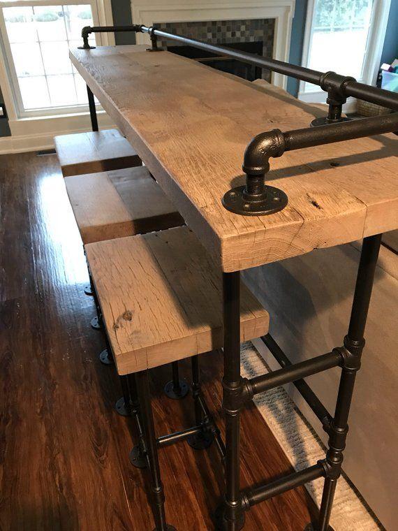 Rustic Gray Reclaimed Barn Wood Sofa Bar Table 7ft Restaurant