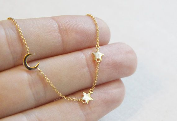 Moon and Star Necklace  Delicate Gold Necklace  by amandadeer