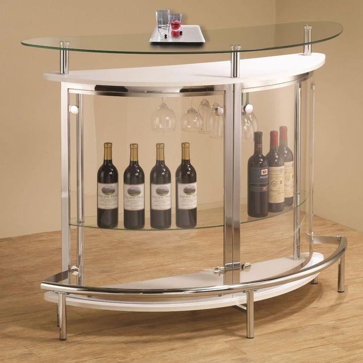 Modern Contemporary White Glass Top Clear Wine Rack Storage Round Bar Home Pub    eBay
