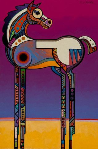 """Spirit Horse"". Artist - Bob Coonts. Original acrylic 24"" X 36"" . This is a stylized and modern painting of a horse . #modernart"