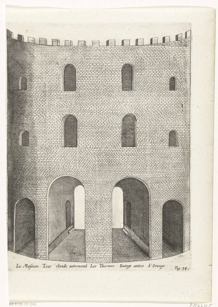 De ronde toren van het Romeinse badhuis in Orange, 1639, J. Baugin, 1637 - 1640